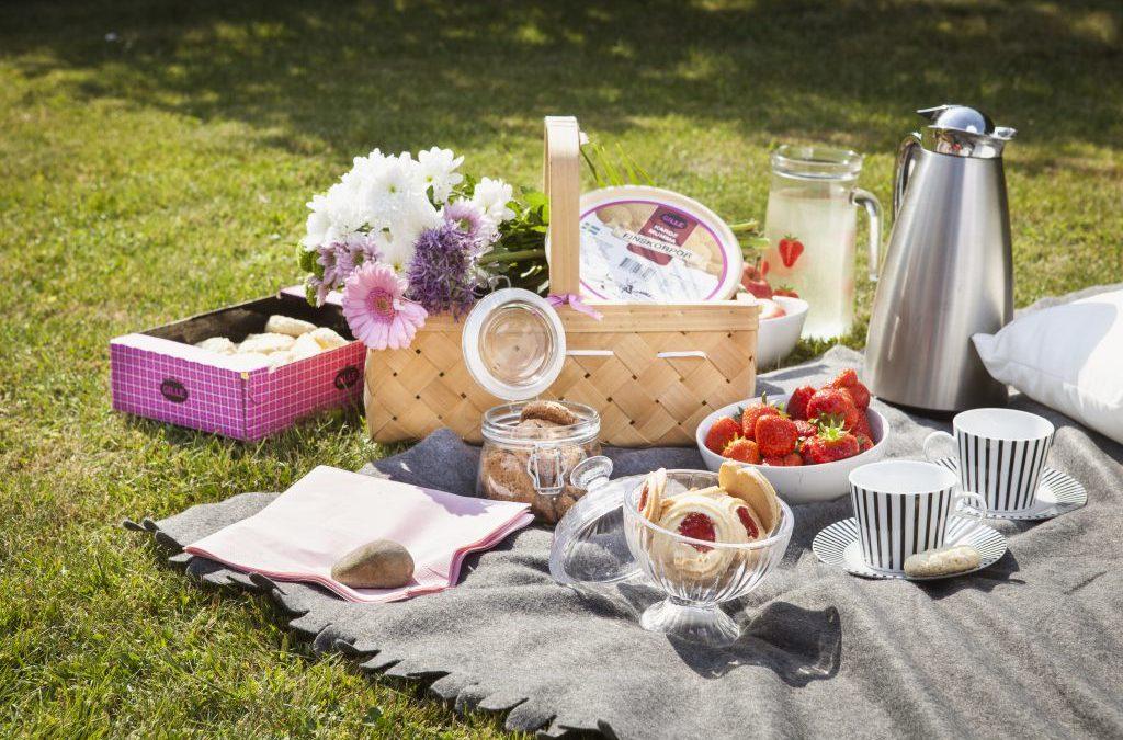 Lilla picknicken som är enkel att ta med sig i cykelkorgen